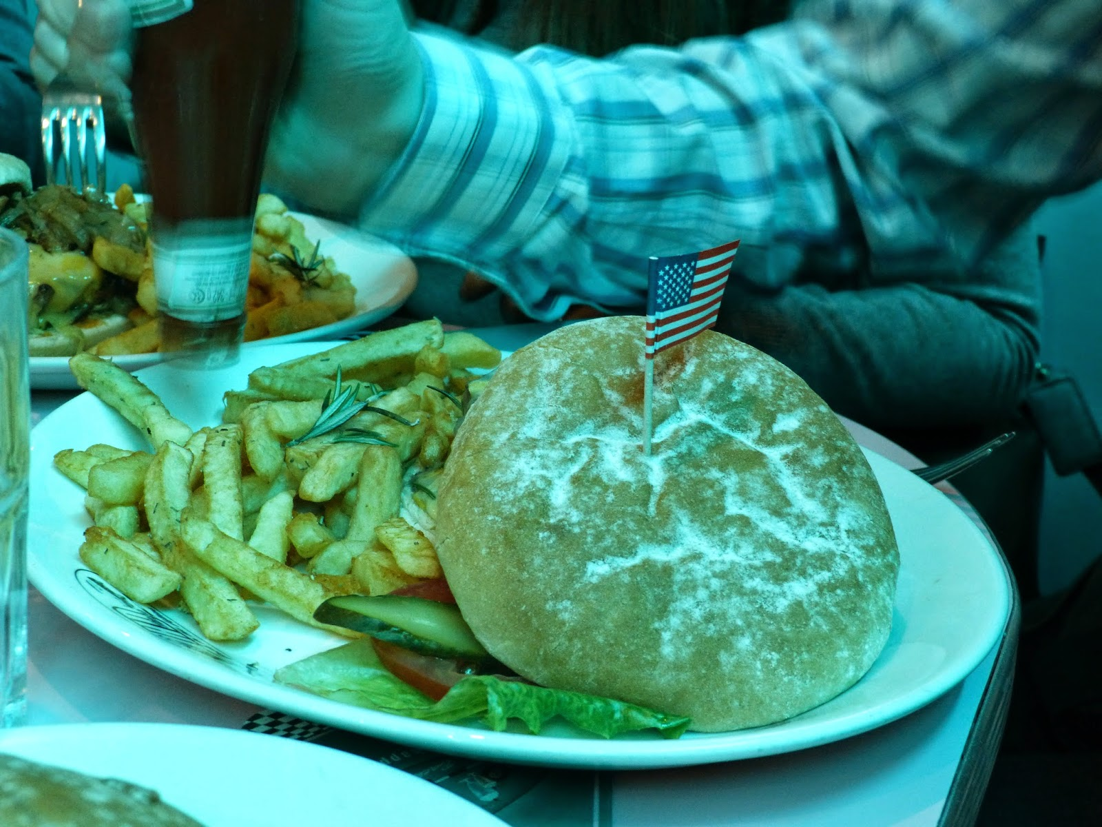 Burger and fries at Happy Days Diner