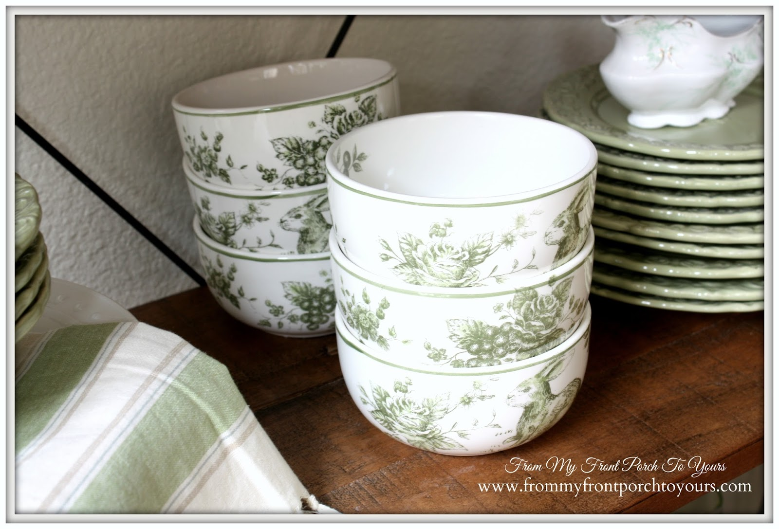 French Farmhouse Spring Breakfast Nook- From My Front Porch To Yours-Maxcerna Green & White Toile Bowls