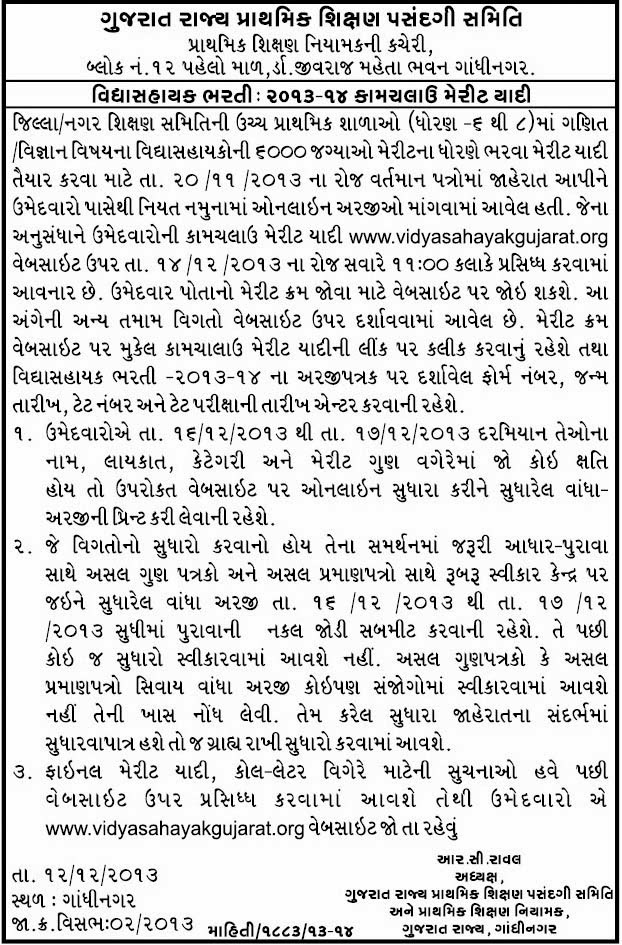 merit list of vidyasahayak bharti