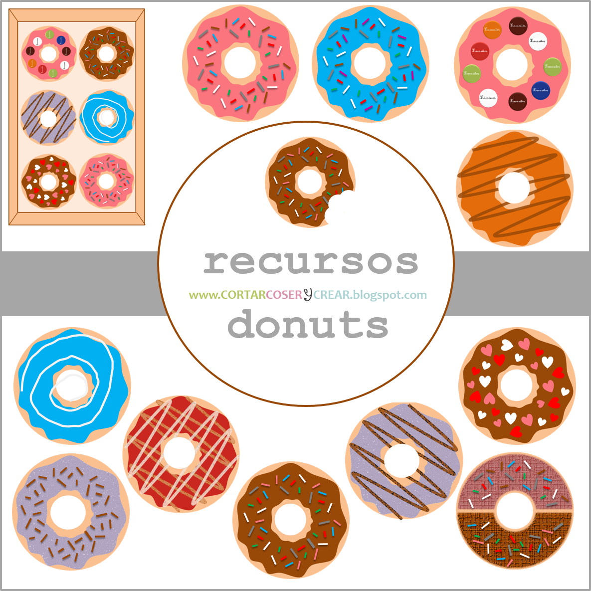 recursos digitales donuts freebies cliparts