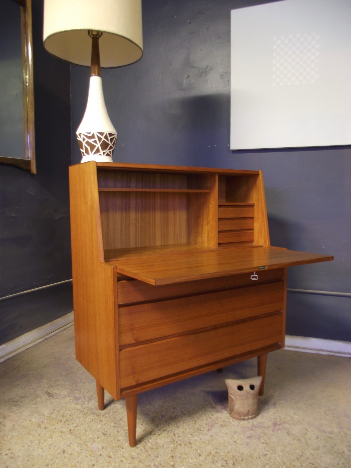 Vintage Ground Mid Century Danish Modern Secretary Desk