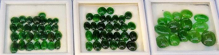 Green jadeite cabochons