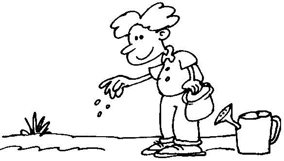 Dibujo de un niño sembrando un arbol para colorear - Imagui