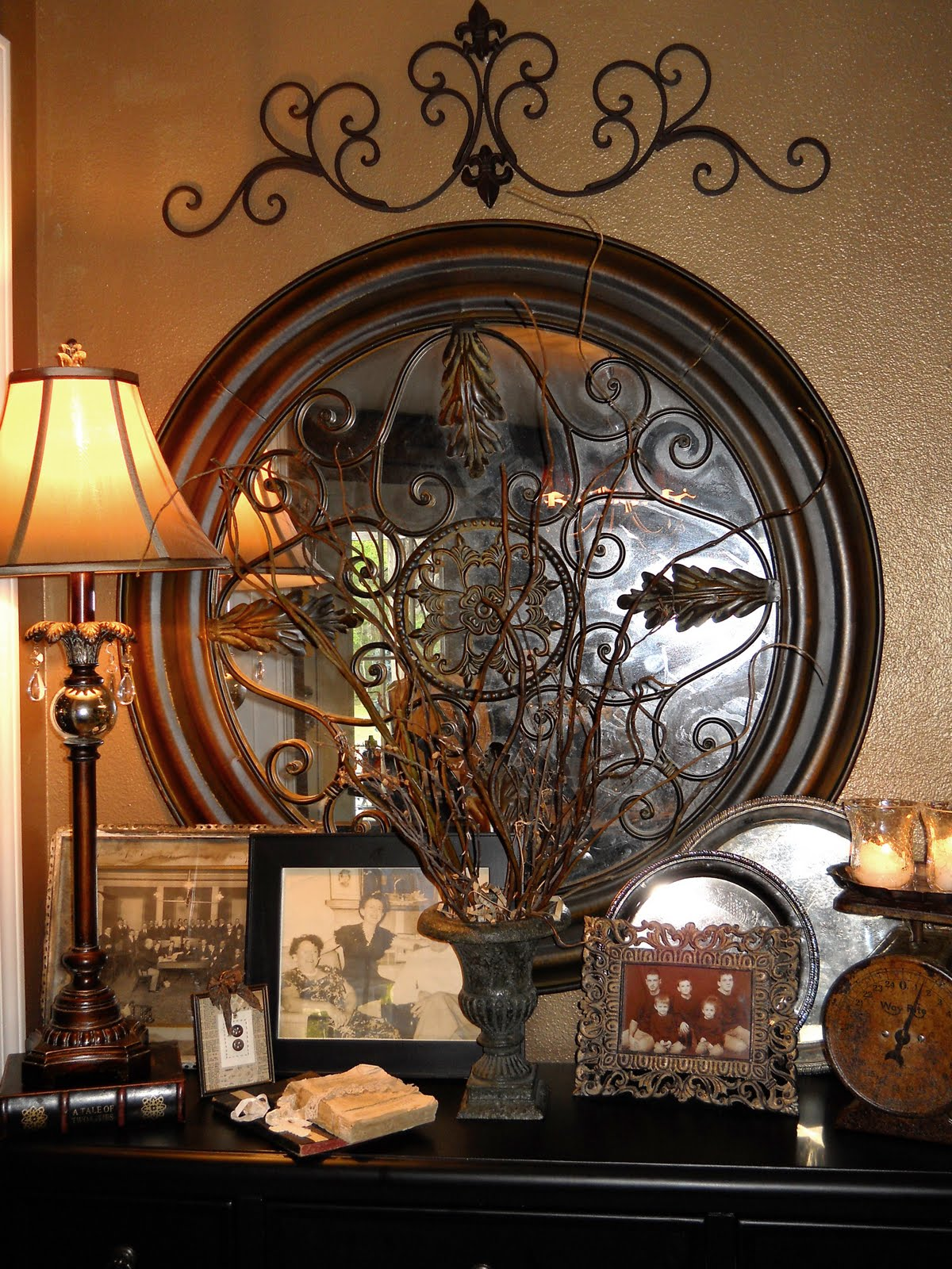 Southern charm vintage vignette for Tuscan decorations for home