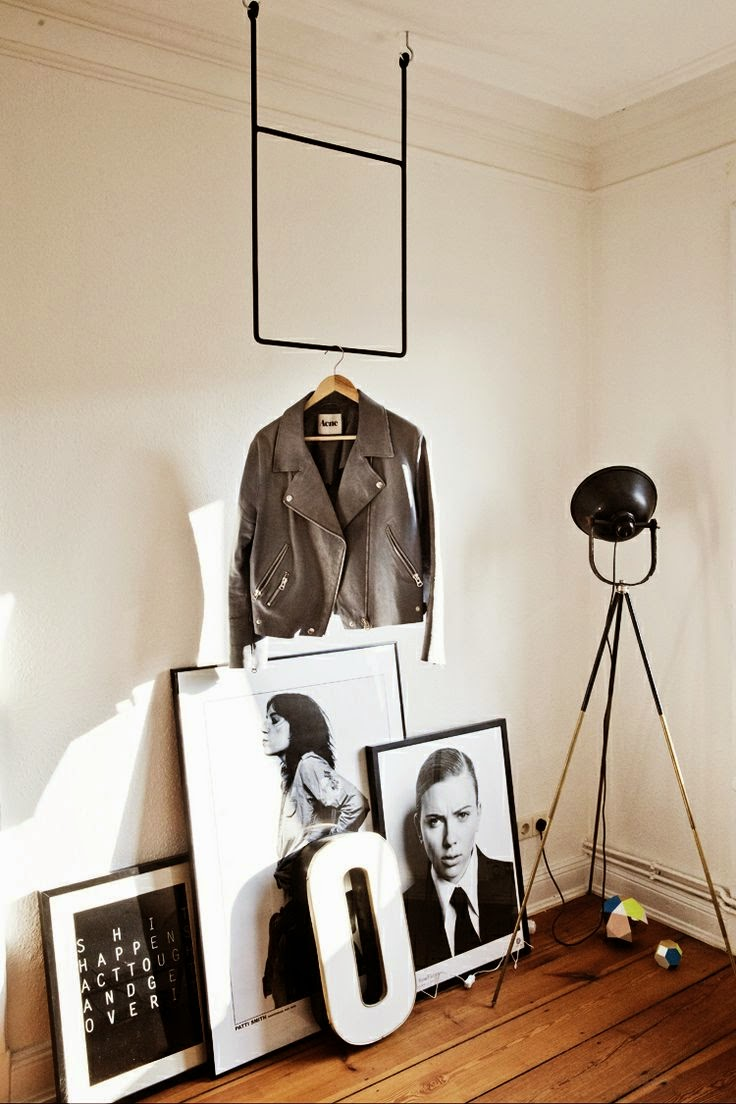 black and white photo floor vignette with leather jacket