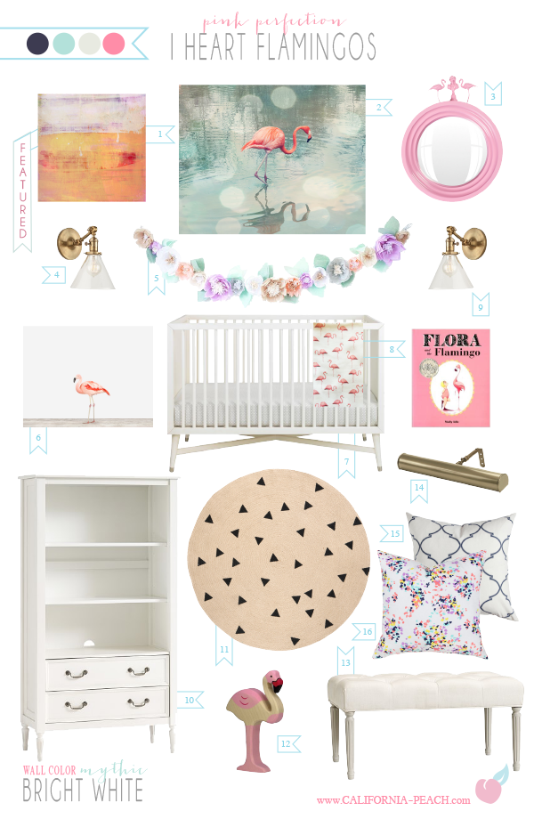 I Heart Flamingos Nursery Style Board