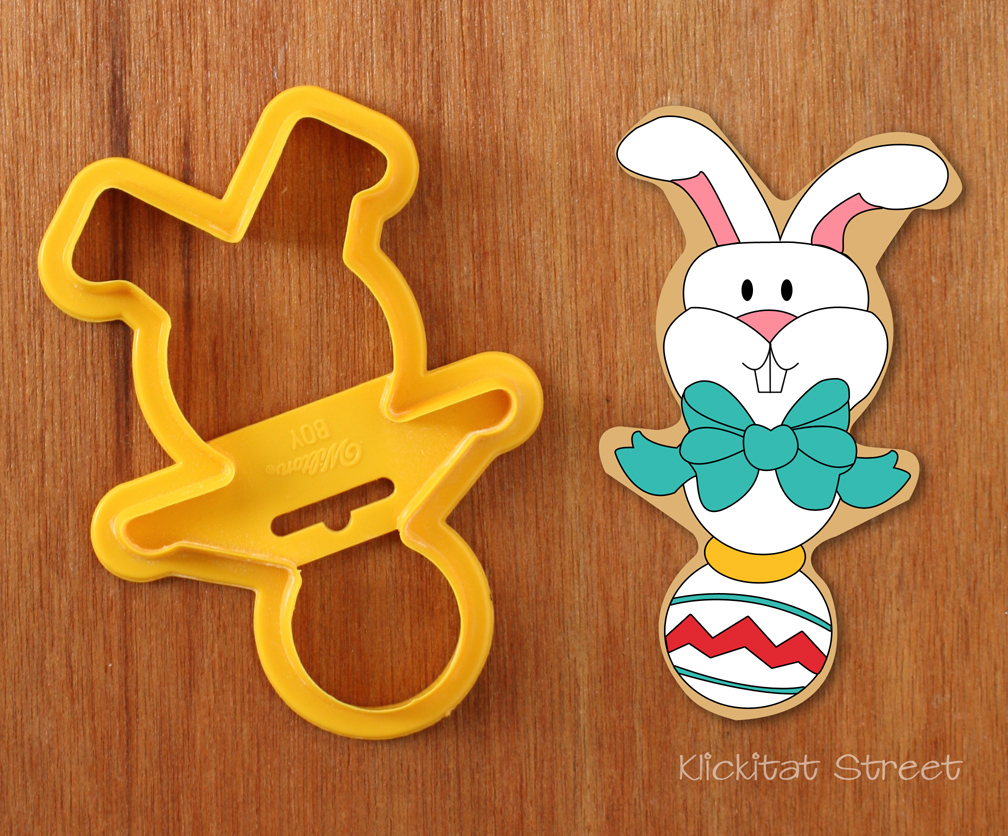 bunny baby rattle cookie made from upside down gingerbread man