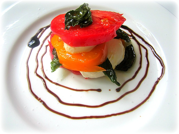 Stacey Snacks: Heirloom Tomato Caprese Stacks w/ Fried Basil
