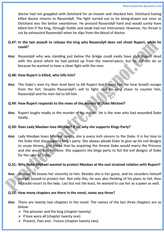 The-Prisoner-Of-Zenda-Drama-Questions-Answers-English-XII