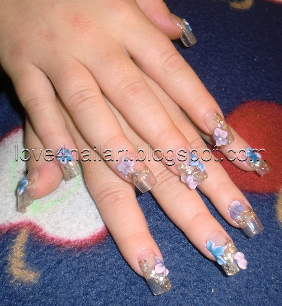 love4nailart clear nails with 3d