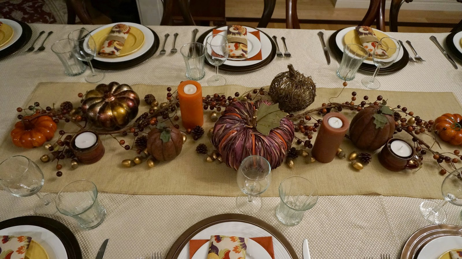 ... I\u0027ve been collecting different kinds of pumpkins and for Thanksgiving this year I used them with a berry vine and candles on a burlap table runner. & Mennonite Girls Can Cook: Setting a Holiday Table