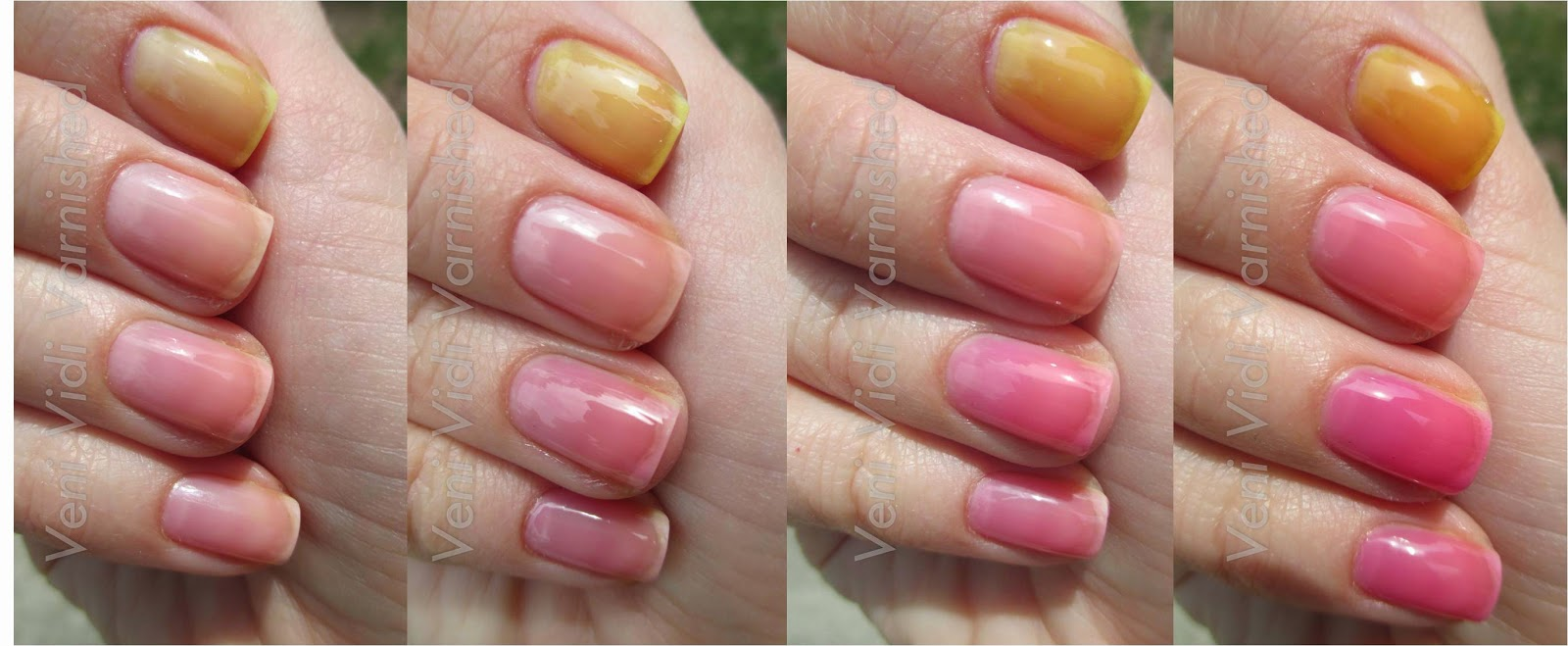 Amberassed, Vitamin D-light, Be Magentale with Me, Water Melon OPI Sheer Tints vs Sally Hansen Palm Beach Jellies Comparison