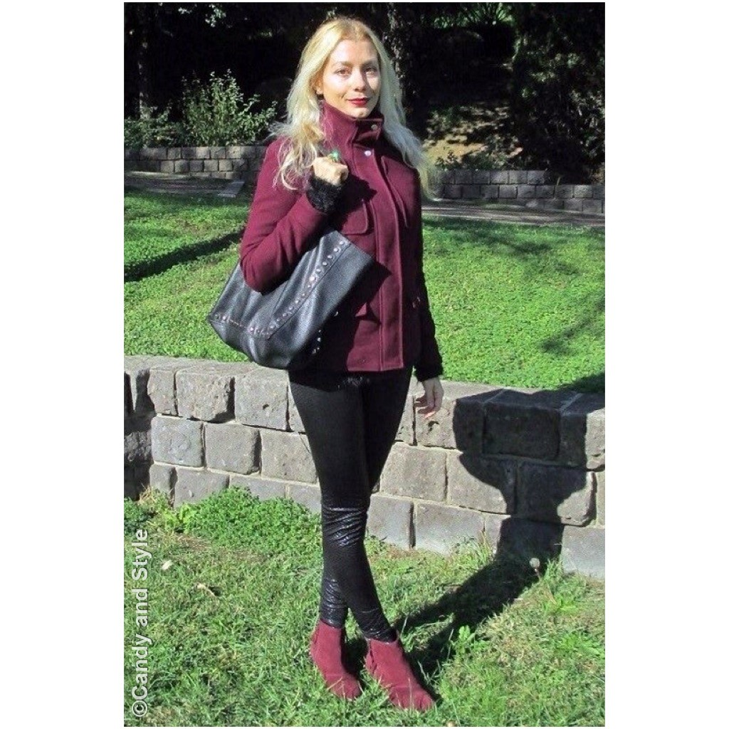 Marsala Color of the Year - FluffySweater+Leather+AnkleBoots