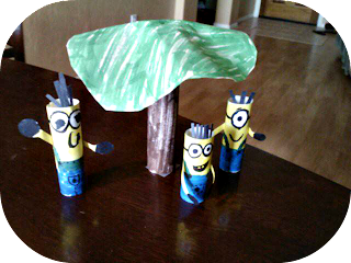 paper minion puppets with a tree