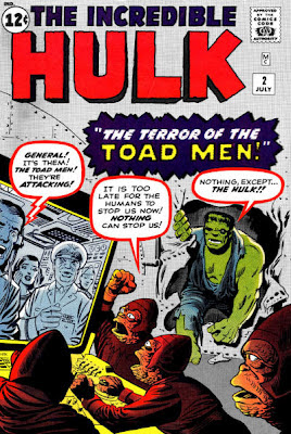 Incredible Hulk #2, the Toad Men plan their conquest as the Hulk smashes in through a wall, Jack Kirby and Steve Ditko