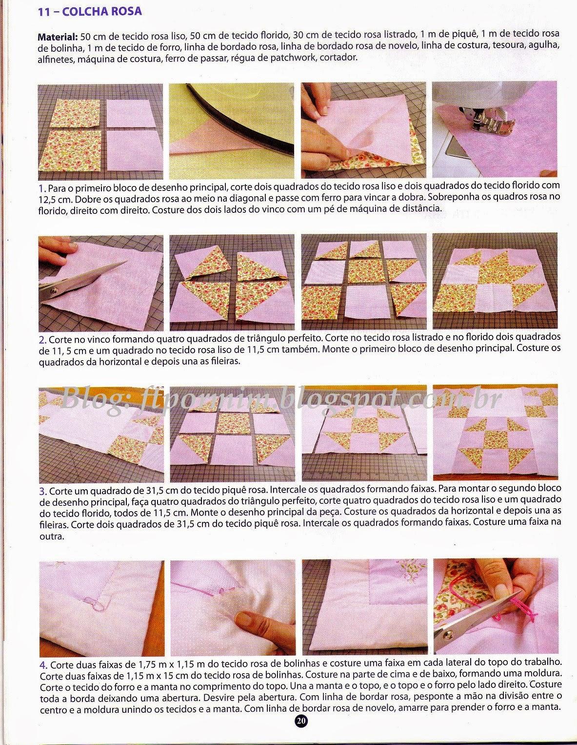 passo à passo da receita da colcha de patchwork