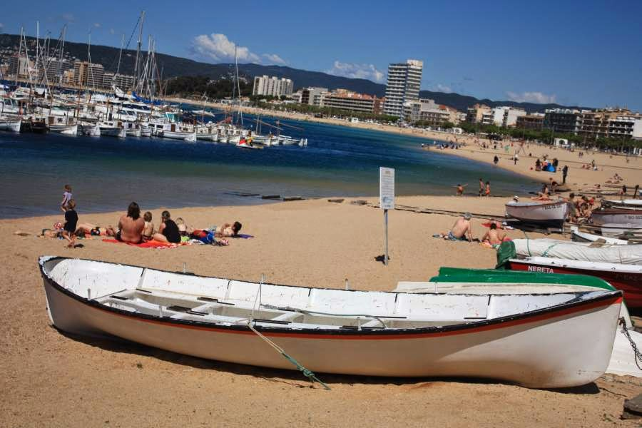 Boats on the beach of Palamos