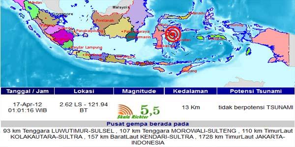Gempa Guncang Sulawesi