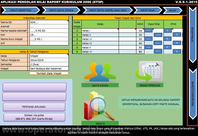 Aplikasi Nilai Raport Kurikulum KTSP - Menu Utama