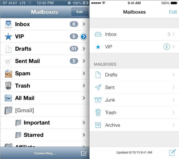 iOS 7 VS. iOS 6 Mail UI Comparison