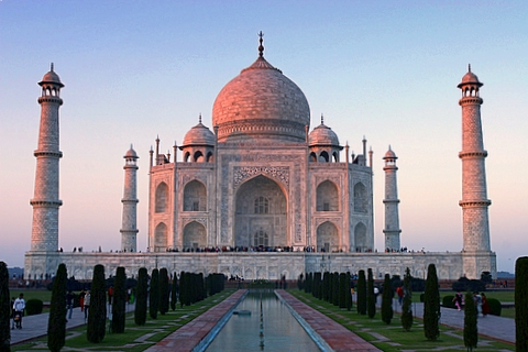 Taj Mahal stands in the city of Agra