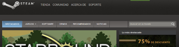 Captura de pantalla de la cabecera de Steam