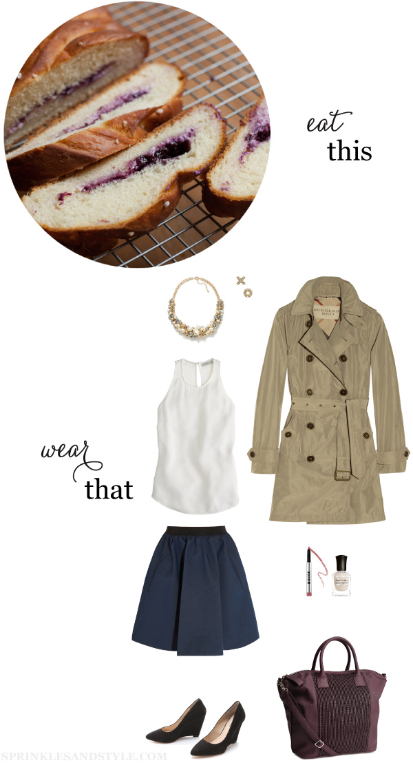 Sprinkles and Style || Eat This, Wear That: Blueberry Braided Bread, Acne Skirt, J.Crew Crepe Tank, Pour la Victoire Wedges, H&M Bag, Buxom Lipstick, ABS Allen Schwartz Earrings, Burberry Tank, Zara Pearl Necklace, Deborah Lippmann Nail Polish