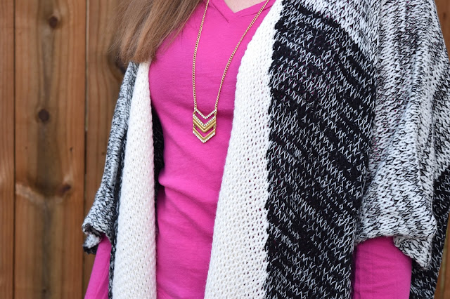 chevron necklace, fringe cardigan, fall style