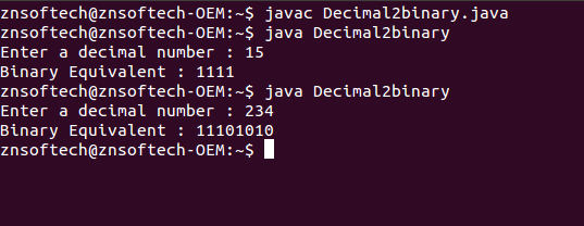 Java code to convert Decimal into Binary