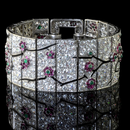 Cartier, Art Deco, bracelet, diamond, diamond bracelet, cherry blossom, flowers, rubies, emeralds, floral, flower, antique