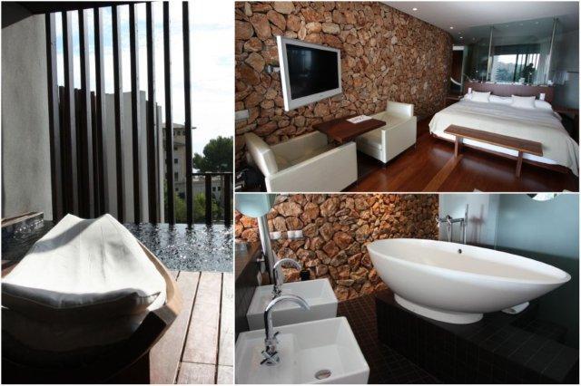 Terraza con piscina, dormitorio y bano en habitación del Hotel Hospes Maricel en Mallorca