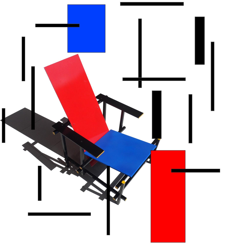La sedia Red and Blue ¨ stata pro tata da Rietveld nel 1917 in versione monocromo con l idea di ridurre la realt ai suoi tratti di linee e superfici
