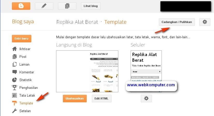 Memasang script template toko online blogspot