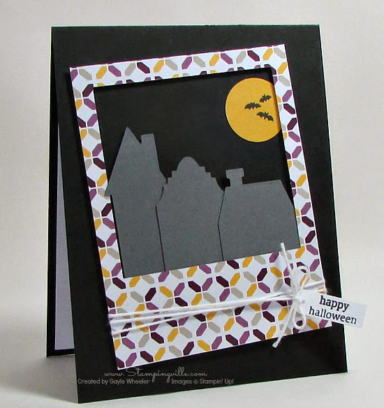 Easy Halloween silhouette card with Stampin' Up! Holiday Home stamps and dies | Stampingville