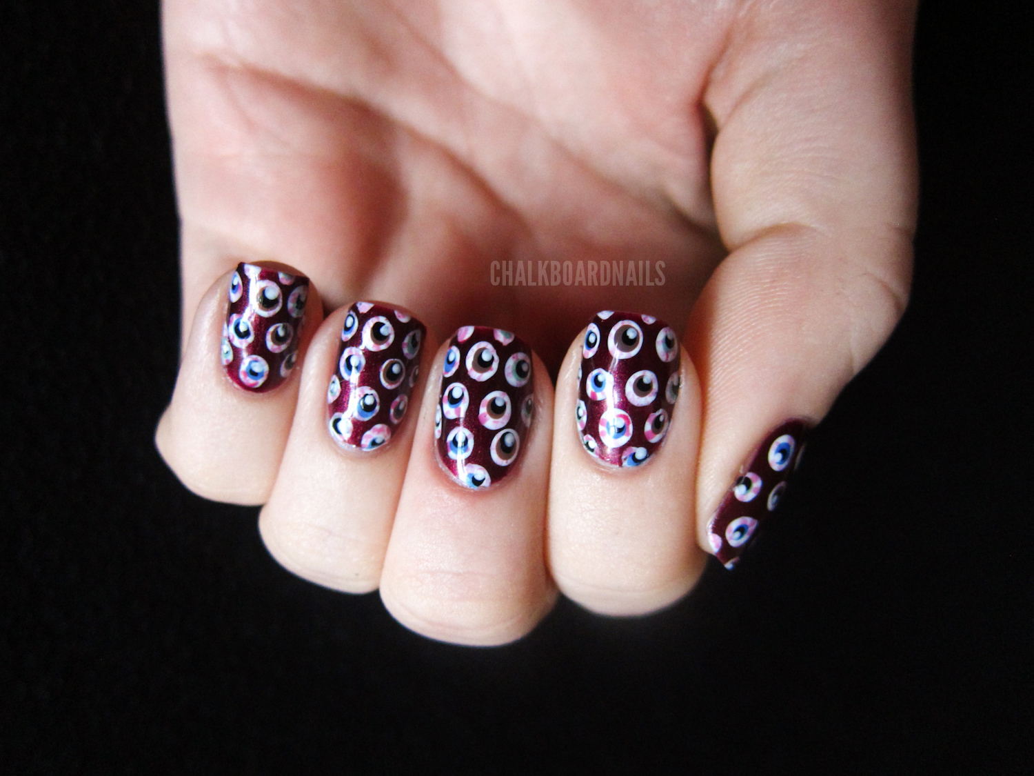 Eyeball Pattern Nails (+ Tutorial) | Chalkboard Nails | Nail Art Blog