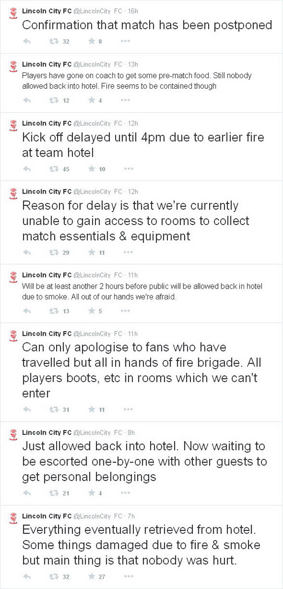 Lincoln City's game postponed due to exploding sauna at hotel