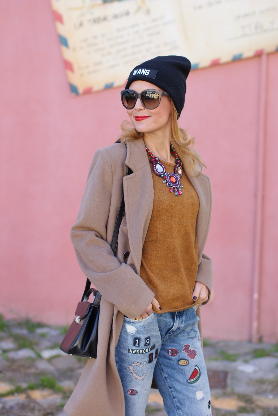 Wang beanie, Zara patched jeans and camel boyfriend coat on Fashion and Cookies fashion blog, fashion blogger style