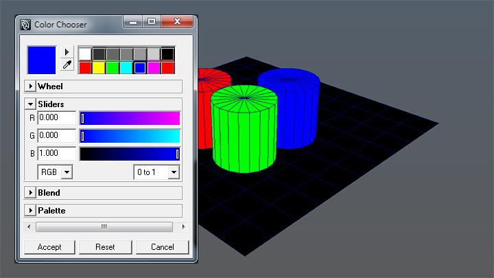 Colores RGB para los tres cilindros