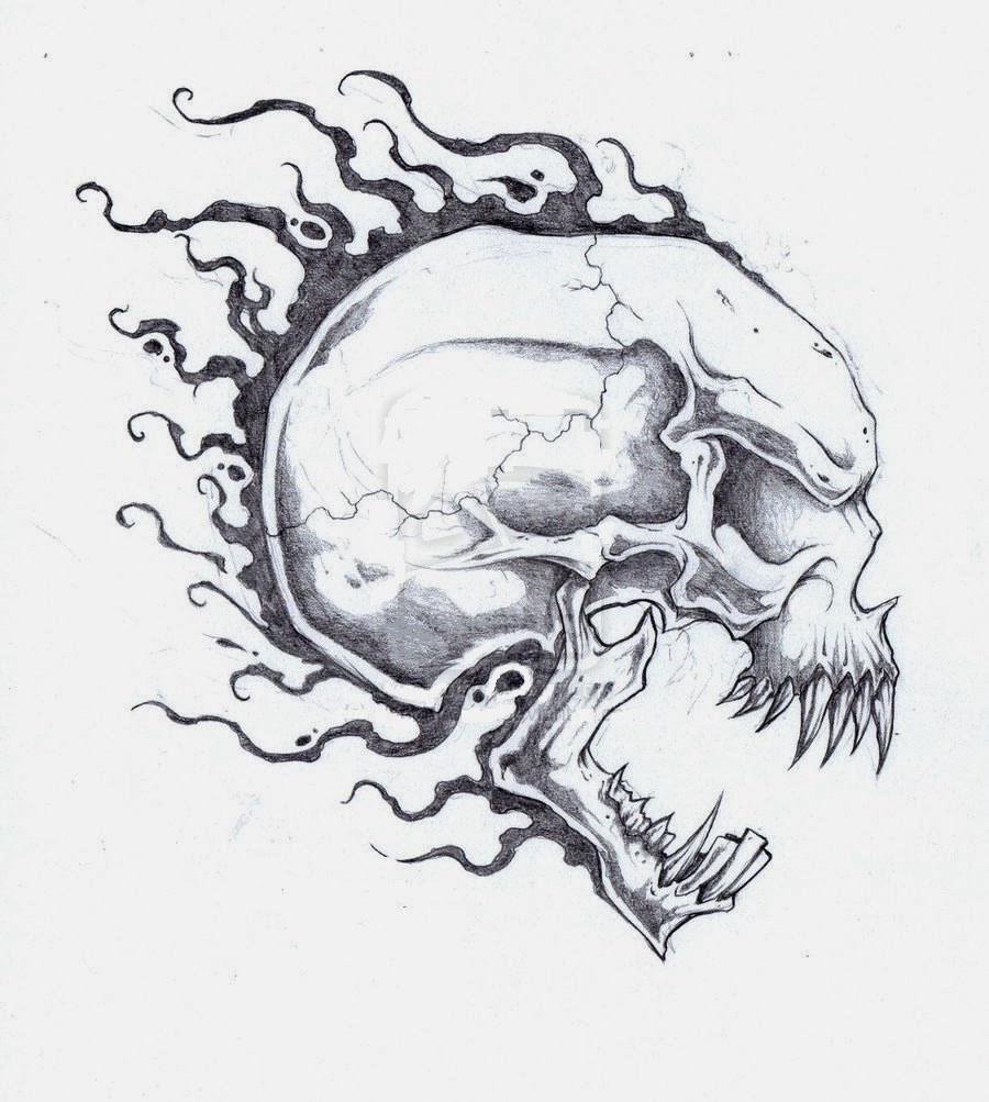 Skull off fire tattoo stencil