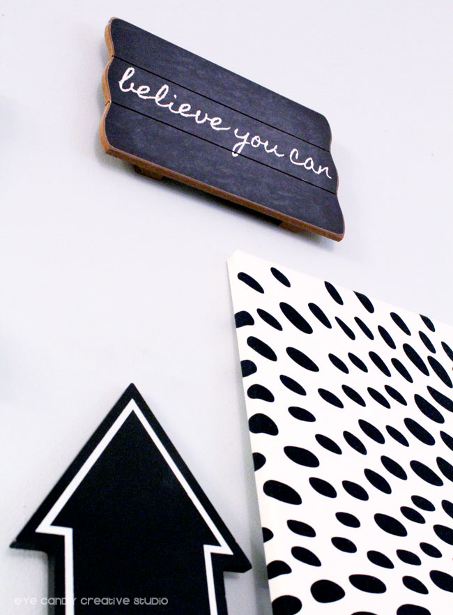 believe you can, chalkboard arrow, black and white fabric, IKEA, Pier 1