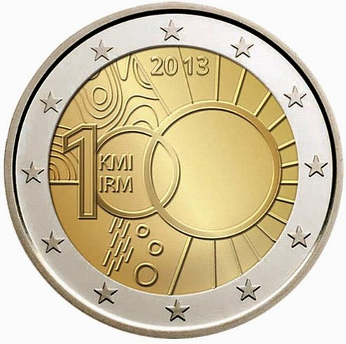 2 euro Belgium 2013, 100 Years of Royal Meteorological Institute
