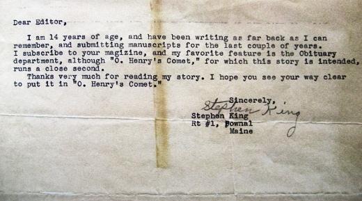Stephen King'in 14 Yaşındayken Yazdığı Mektup