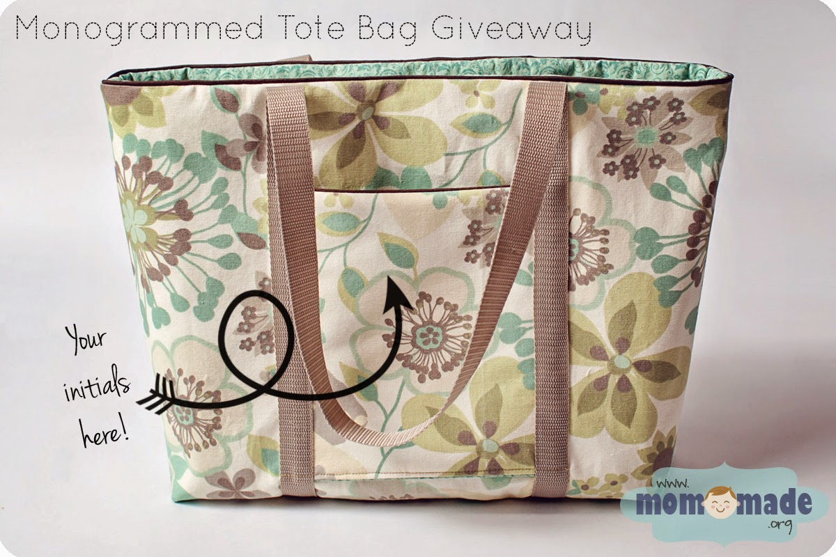 Monogrammed Tote Bag Giveaway by Mom-Made