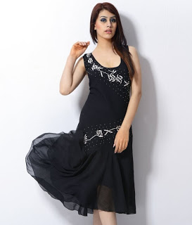 Trendy Divva Black Embroidered Art Chiffon Dress