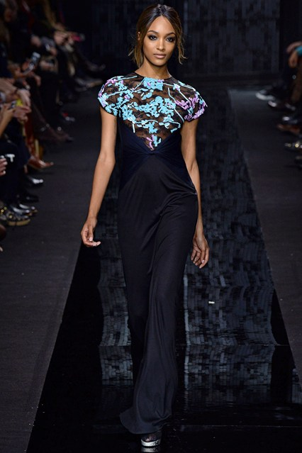 jourdan dunn walking for DVF at new york fashion week for a/w 15/16
