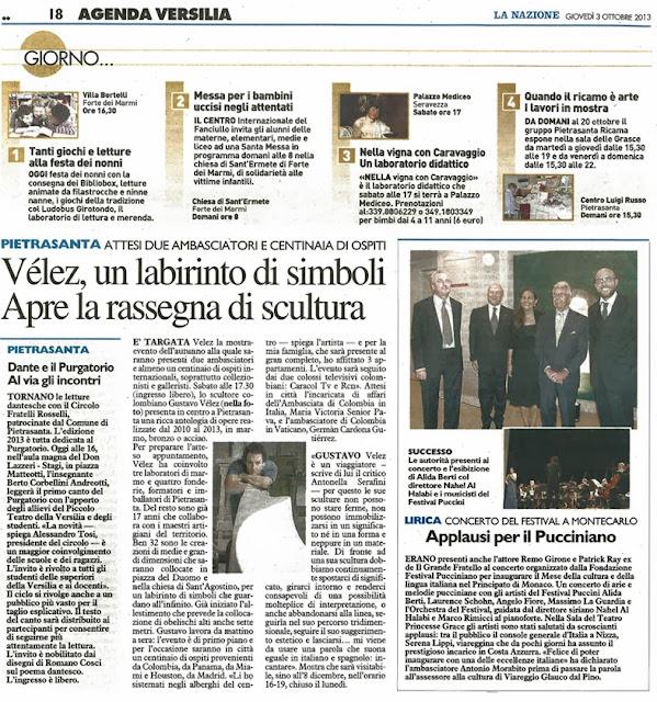 Periódico La Nazione - La Versilia, Italia.  3 de octubre de 2013