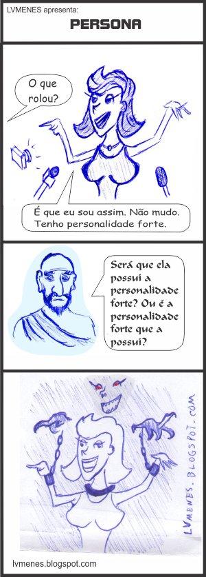 Charge - Tirinha - Quadrinho - Persona - Personalidade - Ego