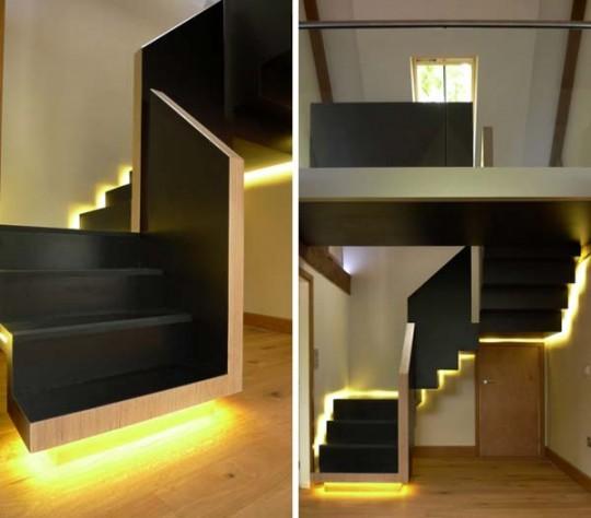 Escalera moderna con luces ideas para decorar dise ar y - Iluminacion de escaleras ...