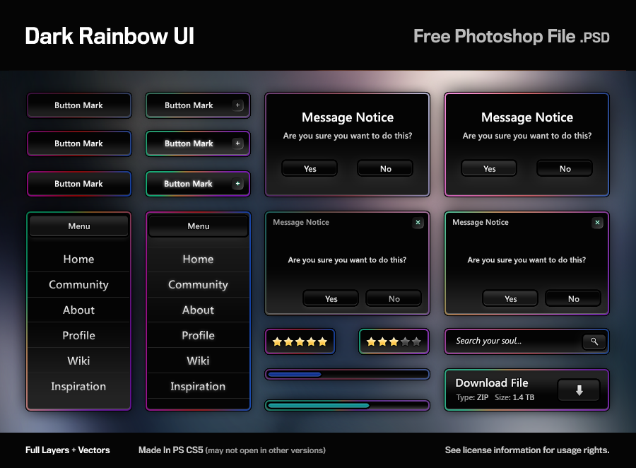 Dark Rainbow UI