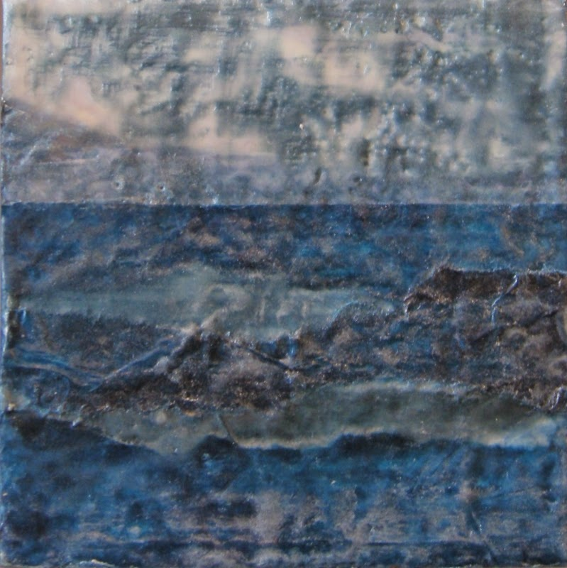 moonlight on water rocks, mixed media encaustic